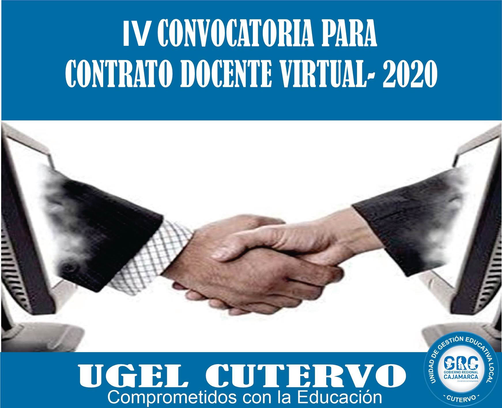 IV CONVOCATORIA PARA CONTRATO DOCENTE –  VIRTUAL 2020